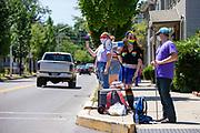 Mifflinburg Pride Event demonstrators at 6th and Chestnut Streets wore purple.
