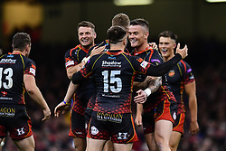 27th April 2019 , Principality Stadium , Cardiff, Wales ; Guinness pro 14's, Round 21, Dragons vs Scarlets ; Dragons players celebrate there victory over the Scarlets<br /> <br /> Credit :  Craig Thomas/Replay Images