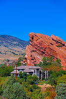 Houses built next to rock formations in Deer Creek Canyon, Littleton, Colorado USA.