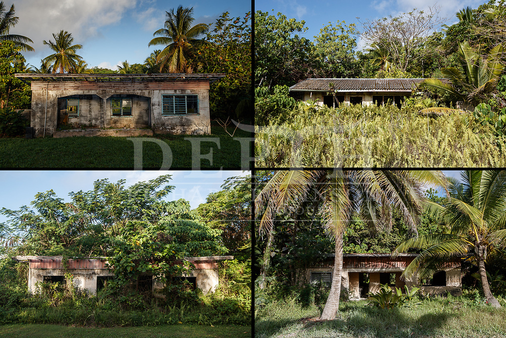 In the 1960s, some 750 homes were built of coral concrete construction with asbestos roofing to resist cyclones, following events in 1959 and 1960. But the population slumped from 5100 to just 1600 residents over the following half-century, and many of the houses now lie in ruins.<br /> Read the feature: https://www.nzgeo.com/stories/from-taro-to-tourism/<br /> Shot on assignment for New Zealand Geographic. Issue 154 November - December 2018. <br /> Photograph Richard Robinson © 2018