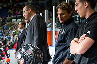 KELOWNA, CANADA - SEPTEMBER 28: Kelowna Rockets' athletic therapist, Scott Hoyer, stands on the bench against the Prince George Cougars on September 28, 2016 at Prospera Place in Kelowna, British Columbia, Canada.  (Photo by Marissa Baecker/Shoot the Breeze)  *** Local Caption *** Scott Hoyer;