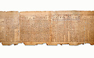 """Ancient Egyptian Book of the Dead papyrus - Spell 105 for gratifying the deceased with Ka, Iufankh's Book of the Dead, Ptolemaic period (332-30BC).Turin Egyptian Museum. White Background<br /> <br /> The spell is """" Hail to thee, my spirit, my lifetime. Behold I am come unto thee risen, powerful, posessed of a soul, mighty.<br /> <br /> You who weighs in the balance. may truth rise to the nose of Ra, on that day of judgement, ley not my head be taken away from me.""""<br /> <br /> The translation of  Iuefankh's Book of the Dead papyrus by Richard Lepsius marked a truning point in the studies of ancient Egyptian funereal studies. .<br /> <br /> If you prefer to buy from our ALAMY PHOTO LIBRARY  Collection visit : https://www.alamy.com/portfolio/paul-williams-funkystock/ancient-egyptian-art-artefacts.html  . Type -   Turin   - into the LOWER SEARCH WITHIN GALLERY box. Refine search by adding background colour, subject etc<br /> <br /> Visit our ANCIENT WORLD PHOTO COLLECTIONS for more photos to download or buy as wall art prints https://funkystock.photoshelter.com/gallery-collection/Ancient-World-Art-Antiquities-Historic-Sites-Pictures-Images-of/C00006u26yqSkDOM"""