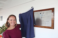 Voyages of Discovery's newly refurbished ship mv Voyager is named in Portsmouth..Naming ceremony of mv Voyager in Portsmouth, UK. Miranda Krestovnikoff, godmother of mv Voyager, unveiling the plaque.