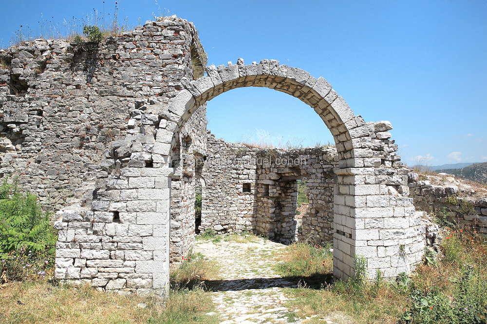 Inside entrance of the Lord's Fortress, possibly constructed during the Muzaka family's Feudal Princedom, on the highest spot of the citadel overlooking the town, in Berat Castle or Kalaja e Beratit, in Berat, South-Central Albania, capital of the District of Berat and the County of Berat. The castle dates mainly from the 13th century and contains Byzantine churches, Ottoman mosques and housing. It is built on a rocky hill on the left bank of the river Osum. Picture by Manuel Cohen.