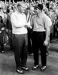 (L-R) Jack Nicklaus shakes hands with Gary Player