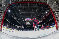 KELOWNA, BC - JANUARY 31: James Porter Jr. #31 and Lukáš Pařík #33 of the Spokane Chiefs stands celebrate the win against the Kelowna Rockets at Prospera Place on January 31, 2020 in Kelowna, Canada. Pařík is a 2019 NHL entry draft pick of the Los Angeles Kings. (Photo by Marissa Baecker/Shoot the Breeze)