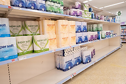 © Licensed to London News Pictures. 21/09/2020. London, UK. Virtually empty shelves of toilet paper at a Sainsburys supermarket in Alperton, North West London. Some shoppers have been reported to start panic buying items including toilet paper and household good ahead of a feared second wave of Covid-19. Photo credit: London News Pictures