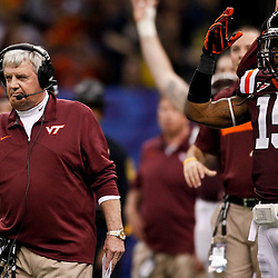 January 3, 2012; New Orleans, LA, USA; Virginia Tech Hokies head coach Frank Beamer reacts from the sideline during the second quarter of the Sugar Bowl  against the Michigan Wolverines at the Mercedes-Benz Superdome.  Mandatory Credit: Derick E. Hingle-US PRESSWIRE