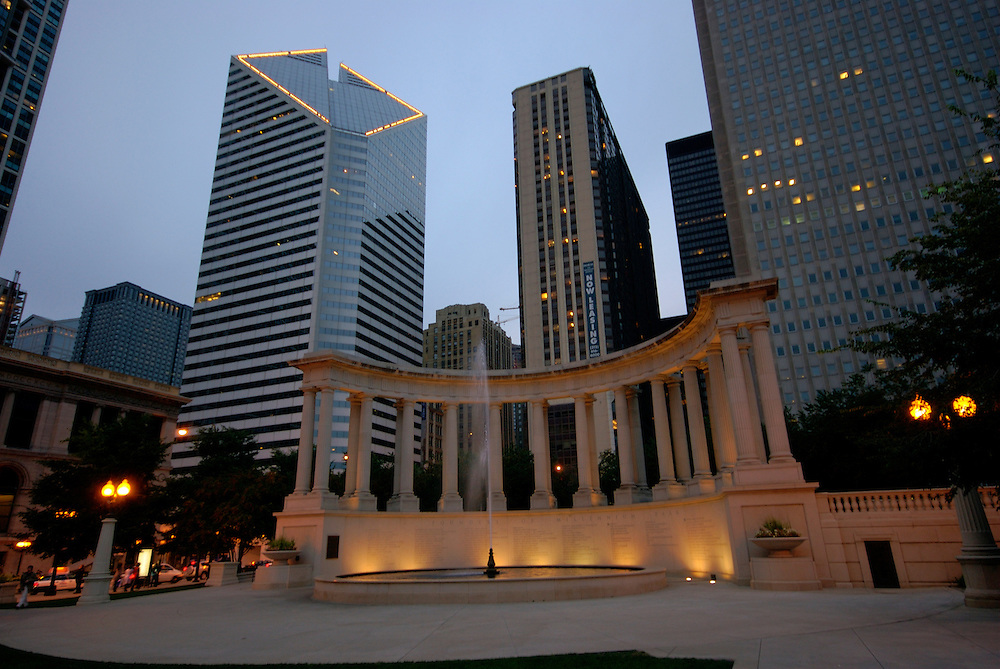 Millennium Park Monument and Buildings over Michigan Avenue in Chicago