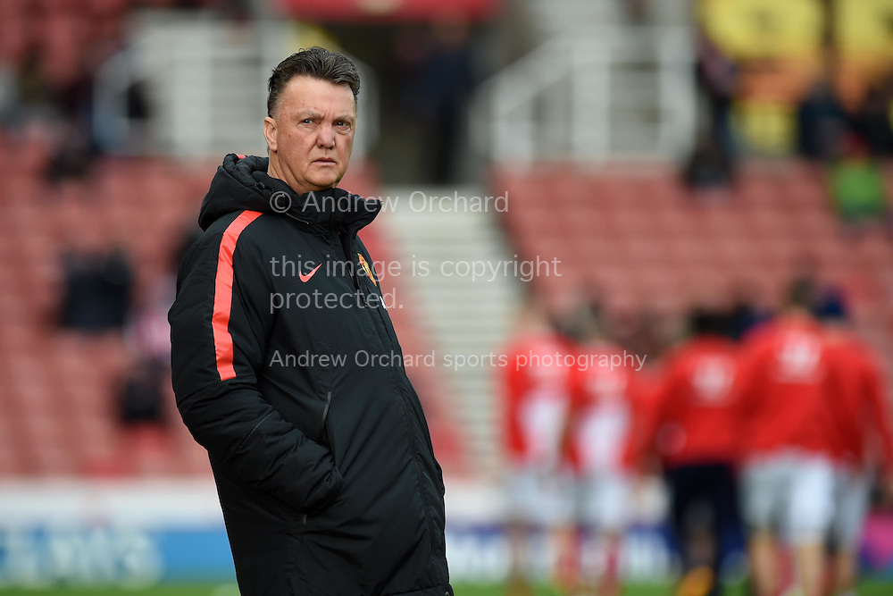 Manchester Utd manager Louis Van Gaal looks on. Barclays Premier league match, Stoke city v Manchester Utd at the Britannia Stadium in Stoke on Trent, Staffs on New Years Day , Thursday 1st Jan 2015. pic by Andrew Orchard. Andrew Orchard sports photography.