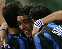 Roma 3/10/2004 Campionato Italiano Serie A <br /> <br /> 5a giornata - Matchday 5 <br /> <br /> Roma Inter 3-3 FC Inter  Alvaro Recoba (C) celebrates his goal of 1-3 with Javier Zanetti (L) and Dejan Stankovic (R). Foto Andrea Staccioli Graffiti