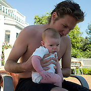 Will Holding Baby Greta, Biddeford Pool, Maine, 2007