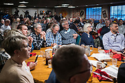 26 MARCH 2021 - URBANDALE, IOWA: People listen to Mike Pompeo speak at the Westide Conservative Club. Pompeo, who served as the Director of the CIA and Secretary of State in the Trump Administration, spoke to about 200 people during the Westside Conservative Club meeting at the Machine Shed Restaurant in Urbandale, IA, Friday morning. Pompeo, who is often mentioned as a possible Republican presidential candidate in 2024, did not talk about any plans to run for President, spending most of the time talking about what he thought were the foreign policy accomplishment of the Trump Administration and encouraging Republicans to tighten voting rules..     PHOTO BY JACK KURTZ