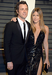 """File photo - Jennifer Aniston and Justin Theroux attending the Vanity Fair Oscar Party at the Wallis Annenberg Center for the Performing Arts in Beverly Hills, Los Angeles, CA, USA, on February 26, 2017. Hollywood couple Jennifer Aniston and Justin Theroux are separating after two years of marriage. The pair, who reportedly met on the set of comedy film Wanderlust, said the mutual decision was """"lovingly made"""" at the end of last year. Photo by Dennis Van Tine/ABACAPRESS.COM"""