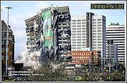 The Birmingham skyline has changed forever with the demolition of the 17 storey tower at Edgbaston Shopping Centre, near to Five Ways Island. The new addition to the skyline in the form of the new £110 million retail and leisure development, Edgbaston Galleries. Part of Calthorpe Estates' £350 million investment programme, the 424,500 sq ft scheme represents the largest regeneration project of a key Birmingham gateway and will transform the west end of the city.<br /> Credit Shaun Fellows/ Shinepicturesuk.com<br /> 9/3/2008
