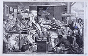 Changing trains at Gloucester from Broad to Narrow gauge - 1846.Brunel favoured the 7 feet 1/4 inch (2.2m) broad gauge for the Great Western Railway. The Gauge Act of 1846 enforced Stephenson's standard 4 feet 8 inch (1.44m) gauge for all future track.  From 'The Illustrated London News', London, 1846.
