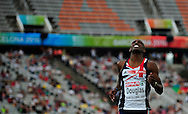 Great Britain's Nathan Douglas reacts during the men's triple jump final at the 2010 European Athletics Championships at the Olympic Stadium in Barcelona on July 29, 2010