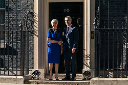 © Licensed to London News Pictures. 14/05/2019. London, UK. British Prime Minister Theresa May meets NATO Secretary General Jens Stoltenberg in Downing Street for a meeting. Photo credit : Tom Nicholson/LNP
