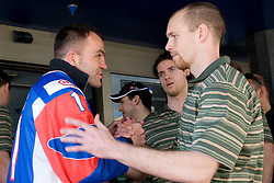Dejan Zavec, Luka Vidmar  and Andrej Tavzelj at meeting of Slovenian Ice-Hockey National team and boxer Dejan Zavec - Jan Zaveck alias Mister Simpatikus, on April 15, 2010, in Hotel Lev, Ljubljana, Slovenia.  (Photo by Vid Ponikvar / Sportida)