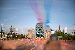 *EDITORS NOTE, LONG EXPOSURE PICTURE* The Red Arrows fly over the Tyne Bridge during the Great North Run in Newcastle.