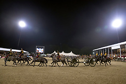 The Musical Drive of the King's Troop Royal Horse Artillery perform in front of Queen Elizabeth II, during the Royal Windsor Horse Show at Windsor Castle, Berkshire.