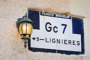 Street lamp and sign, Villandry, France