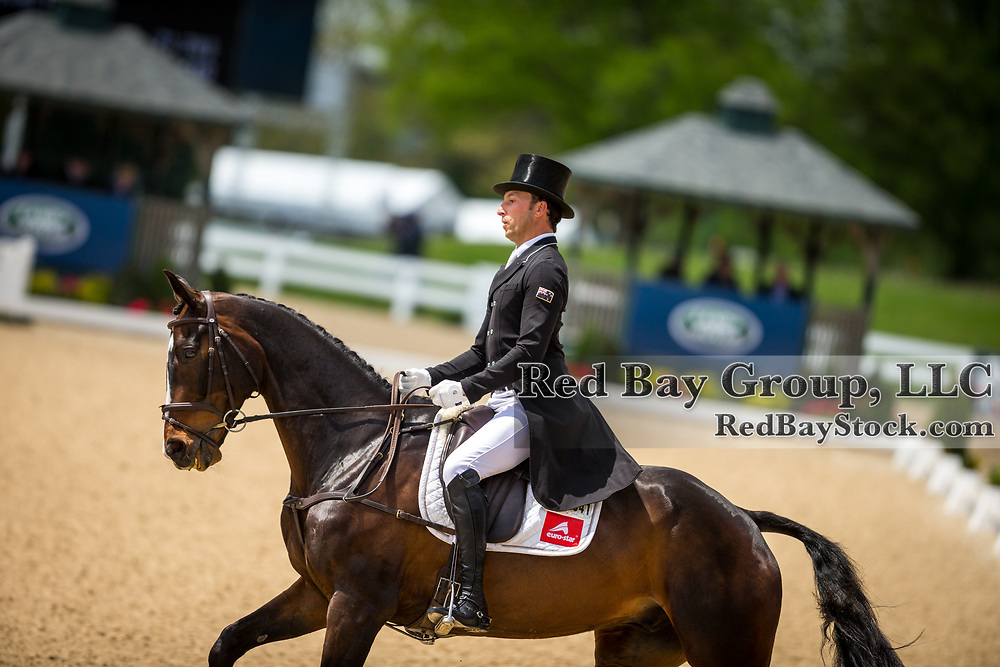 Tim Price (NZL) and Xavier Faer during the dressage at the 2019 Land Rover Kentucky Three-Day Event presented by MARS EQUESTRIAN in Lexington, Kentucky