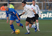 Photo: Paul Greenwood.<br />Macclesfield Town v Hereford United. Coca Cola League 2. 20/01/2007. Macclesfield's Adam Murray, left, struggles to keep up with Hereford's Stuart Fleetwood