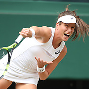 LONDON, ENGLAND - JULY 13:  Johanna Konta of Great Britain in action against Venus Williams of the United States in the Ladies Singles Semi Final match during the Wimbledon Lawn Tennis Championships at the All England Lawn Tennis and Croquet Club at Wimbledon on July 13, 2017 in London, England. (Photo by Tim Clayton/Corbis via Getty Images)