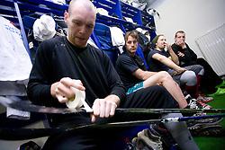 Andrej Tavzelj, Greg Kuznik, Mitja Sivic and Bostjan Groznik at first practice of Slovenian National Ice hockey team before World championship of Division I - group B in Ljubljana, on April 5, 2010, in Hala Tivoli, Ljubljana, Slovenia.  (Photo by Vid Ponikvar / Sportida)