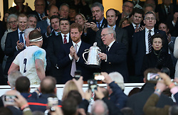 11 March 2017 : 6 Nations Rugby : England v Scotland :<br /> England captain Dylan Hartley collects the Calcutta Cup from Peter Haines, watched by Prince Harry and Princess Anne.<br /> Photo: Mark Leech