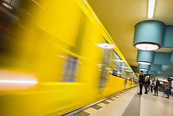 train at platform at Nauener Platzsubway station in Berlin Germany
