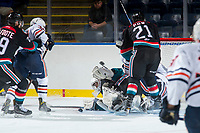 KELOWNA, CANADA - SEPTEMBER 5: James Porter #1 of the Kelowna Rockets makes a save against the Kamloops Blazers on September 5, 2017 at Prospera Place in Kelowna, British Columbia, Canada.  (Photo by Marissa Baecker/Shoot the Breeze)  *** Local Caption ***