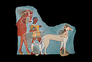 Mycenaean Fresco wall painting of a Mycanaean footman leading a horse & hunting dog,  Tiryns, Greece. 14th - 13th Century BC. Athens Archaeological Museum. Cat No 5878.  Black Background .<br /> <br /> If you prefer to buy from our ALAMY PHOTO LIBRARY  Collection visit : https://www.alamy.com/portfolio/paul-williams-funkystock/mycenaean-art-artefacts.html . Type -   Athens    - into the LOWER SEARCH WITHIN GALLERY box. Refine search by adding background colour, place, museum etc<br /> <br /> Visit our MYCENAEN ART PHOTO COLLECTIONS for more photos to download  as wall art prints https://funkystock.photoshelter.com/gallery-collection/Pictures-Images-of-Ancient-Mycenaean-Art-Artefacts-Archaeology-Sites/C0000xRC5WLQcbhQ