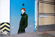 David Bowie street art mural on 18th August 2020 in Birmingham, United Kingdom. Bowie was a figure in popular music for over five decades, becoming acclaimed by critics and other musicians for his innovative work.