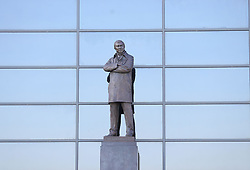 The Sir Alex Ferguson stand at Manchester United's Old Trafford football stadium in Manchester as one of the most successful football managers of all time, had surgery on Saturday for a brain haemorrhage.