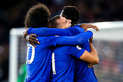 Wilfred Ndidi of Leicester City celebrates with Marc Albrighton and Hamza Choudhury after scoring a goal to make it 5-0 - Mandatory by-line: Robbie Stephenson/JMP - 29/09/2019 - FOOTBALL - King Power Stadium - Leicester, England - Leicester City v Newcastle United - Premier League