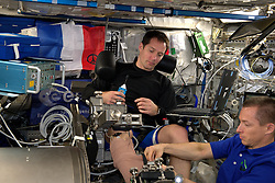 """""""MARES reminds me of a dentist's chair but worse – the machine sends electrical shocks to monitor my muscle's reaction – all in the name of science !"""" comments by French cosmonaut Thomas Pesquet, as he is doing experiences and taking photos on board International Space Station, on November 29, 2016. Photo by ESA via Balkis Press/ABACAPRESS.COM"""