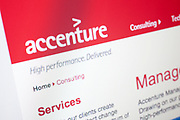 Computer screen showing the website for Accenture business consulting site.