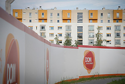 August 4, 2017 - Warsaw, Poland - Newly developed apartment buildings are seen just south of the center of Warsaw on 4 August, 2017. DOM development is a Warsaw based developer that also delivers turnkey apartments. (Credit Image: © Jaap Arriens/NurPhoto via ZUMA Press)