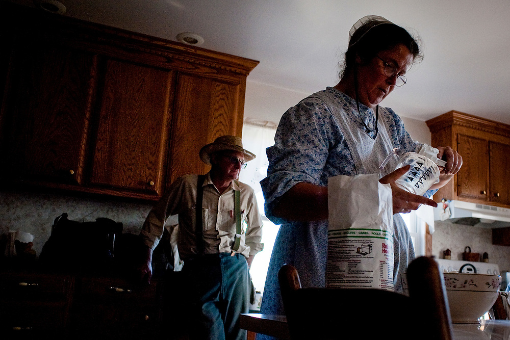 James Rhodes hangs out in the kitchen as Mary Ethel makes pies for the family and to sell at the local farmer's auction. Old Order Mennonites are a branch of the Mennonite church. It is a term that is often used to refer to those groups of Mennonites who practice a lifestyle without some elements of modern technology.