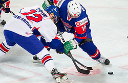 Robert Dowd of Great Britain vs Ales Music of Slovenia during ice-hockey match bewteen Great Britain and Slovenia at IIHF World Championship DIV. I Group A Slovenia 2012, on April 15, 2012 in Arena Stozice, Ljubljana, Slovenia. (Photo by Vid Ponikvar / Sportida.com)