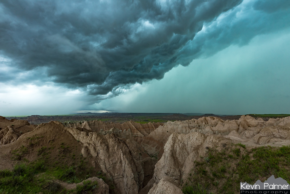 Badlands are a type of terrain that experiences rapid erosion, estimated to be an inch per year at Badlands National Park. Much of that erosion happens during thunderstorms like this one. When the downpour first started I was disappointed because I didn't get any shots of the storm structure beforehand. But then there was a break in the rain. It lasted just long enough for me to rush back to this overlook and capture the dark menacing clouds above surrounded by two blueish-green rain cores. Hidden in the ravine below were big horn sheep climbing the steep muddy terrain. The second wall of water hit even heavier than the first and dropped visibility to almost zero. A local told me they had never seen a spring with more rain. And they were right, 2019 was to become the wettest year on record in western South Dakota.