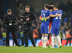 Chelsea's Branislav Ivanovic celebrates with Chelsea's John Terry and Chelsea's Petr Cech at the final whistle. - Photo mandatory by-line: Alex James/JMP - Mobile: 07966 386802 - 11/02/2015 - SPORT - Football - London - Stamford Bridge - Chelsea v Everton - Barclays Premier League