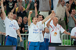 Players of Serbia celebrate at friendly match between Croatia and Serbia for Adecco Cup 2011 as part of exhibition games before European Championship Lithuania on August 9, 2011, in SRC Stozice, Ljubljana, Slovenia. (Photo by Matic Klansek Velej / Sportida)