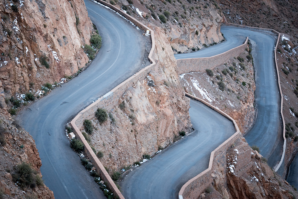 9 January 2018, Dades Gorge, Morocco: The Dades Gorges are a series of rugged Wadi gorges carved out by the Dades River. The variably coloured walls range from 200-500 meters in height.