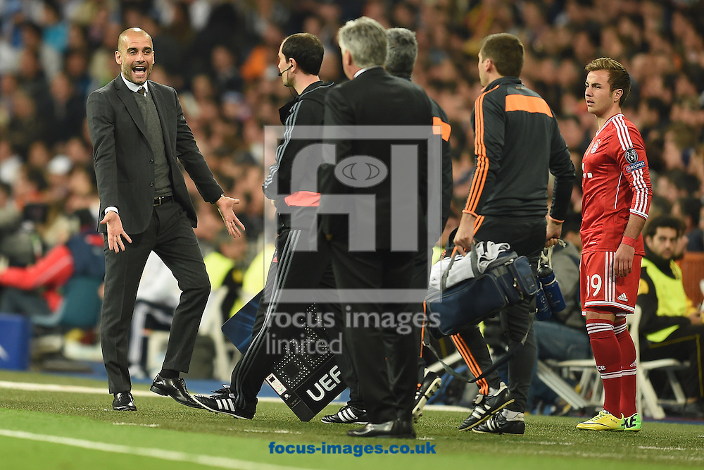 Manager of Bayern Munich Pep Guardiola during the UEFA Champions League match against Real Madrid at the Estadio Santiago Bernabeu, Madrid<br /> Picture by Andrew Timms/Focus Images Ltd +44 7917 236526<br /> 23/04/2014