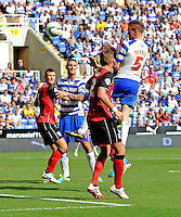 Reading's Alex Pearce headers the ball just outside Ipswich Town's 6 yard box<br /> <br /> FT: Reading 2 - 1 Ipswich Town<br /> <br />  - (Photo by David Horton/CameraSport) - <br /> <br /> Football - The Football League Sky Bet Championship - Reading v Ipswich Town - Saturday 3rd 2013 - Madejski Stadium - Reading<br /> <br /> © CameraSport - 43 Linden Ave. Countesthorpe. Leicester. England. LE8 5PG - Tel: +44 (0) 116 277 4147 - admin@camerasport.com - www.camerasport.com