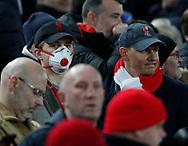 Liverpool fans wearing face masks during the UEFA Champions League match at Anfield, Liverpool. Picture date: 11th March 2020. Picture credit should read: Darren Staples/Sportimage