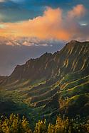 Sunset light on the Na Pali Coast from Pu'u O Kila Lookout, Kauai, Hawaii